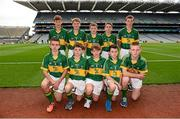 21 September 2014; Representing Kerry, back row, from left, Luke Kelly, St Brigid's NS, Co. Carlow, Diarmuid O'Mahony, Lisselton NS, Co. Kerry, Aidan McLarnon, St Andrew's Curragha NS, Co. Meath, Tom Marsden, Lisnagry NS, Co. Limerick, Matthew Ging, St Brigid's NS, Co. Wicklow. Front row from left, Andrew Roe, Pope John Paul NS, Co. Dublin, Conor Leen, Gaelscoil Mhíchíl Cíosóg, Co. Clare, Daire Murphy, Divine Mercy SNS, Co. Dublin, Brendan Creegan, Killasonna NS, Co. Longford, and Conor Raftery, St Joseph's NS, Co. Galway, during the INTO/RESPECT Exhibition GoGames. Croke Park, Dublin. Picture credit: Pat Murphy / SPORTSFILE