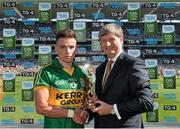 21 September 2014; Pat O'Doherty, ESB Chief Executive, presents Micheál Burns from Kerry with the Electric Ireland Man of the Match award for his outstanding performance in today's Electric Ireland GAA Football All Ireland Minor Championship Final. Croke Park, Dublin. Picture credit: Brendan Moran / SPORTSFILE