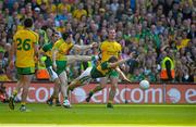 21 September 2014; Peter Crowley, Kerry, blocks down the shot from David Walsh, Donegal. GAA Football All Ireland Senior Championship Final, Kerry v Donegal. Croke Park, Dublin. Picture credit: Brendan Moran / SPORTSFILE