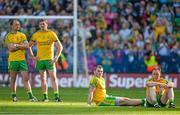 21 September 2014; Dejected Donegal players, from left, Colm McFadden, Christy Toye, Dermot Molloy and Anthony Thompson at the end of the game. GAA Football All Ireland Senior Championship Final, Kerry v Donegal. Croke Park, Dublin. Picture credit: Brendan Moran / SPORTSFILE