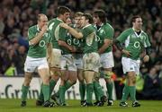 24 February 2007; Ireland players, from left, Denis Hickie, Donncha O'Callaghan, Isaac Boss, Andrew Trimble, Gordon D'Arcy, Neil Best and Paddy Wallace celebrate after Boss scored their side's fourth try. RBS Six Nations Rugby Championship, Ireland v England, Croke Park, Dublin. Picture Credit: Brendan Moran / SPORTSFILE