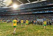 21 September 2014; Donegal players, from left, David Walsh, Odhrán Mac Niallais, Conor Classon and Darach O'Connor leave the pitch after the game. GAA Football All Ireland Senior Championship Final, Kerry v Donegal. Croke Park, Dublin. Picture credit: Brendan Moran / SPORTSFILE
