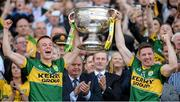 21 September 2014; Kerry joint captains Fionn Fitzgerald, left, and Kieran O'Leary lift the Sam Maguire cup. GAA Football All Ireland Senior Championship Final, Kerry v Donegal. Croke Park, Dublin. Picture credit: Stephen McCarthy / SPORTSFILE