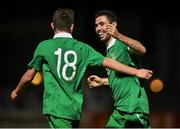 22 September 2014; Robbie McCourt, right, Republic of Ireland, celebrates after scoring his side's fifth goal with team-mate Trevor Clarke UEFA European U17 Championship 2014/15 Qualifying Round, Republic of Ireland v Gibraltar. Athlone Town Stadium, Athlone, Co. Westmeath. Picture credit: David Maher / SPORTSFILE