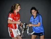 23 September 2014; In attendence at a photocall ahead of the TG4 All-Ireland Junior, Intermediate and Senior Ladies Football Championship Finals on Sunday next, are, Senior Finalists Roisin Phelan, left, Cork, and Sinead Goldrick, Dublin with the Brendan Martin Cup. Croke Park, Dublin. Picture credit: Brendan Moran / SPORTSFILE