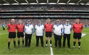 7 September 2014; Referee Barry Kelly, with match officials, Cathal McAllister, left, Colm Lyons, and Brian Gavin, right, the umpires Séamus O'Brien, Michael Coyle, Paddy Walsh, and Paul Reville, before the game. GAA Hurling All Ireland Senior Championship Final, Kilkenny v Tipperary. Croke Park, Dublin. Picture credit: Ray McManus / SPORTSFILE