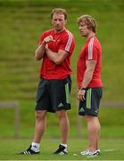 23 September 2014; Munster technical advisor Mick O'Driscoll in conversation with scrum coach Jerry Flannery during squad training ahead of their Guinness PRO12, Round 4, match against Ospreys on Saturday. Munster Rugby Squad Training and Press Conference, University of Limerick, Limerick. Picture credit: Diarmuid Greene / SPORTSFILE