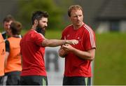 23 September 2014; Munster senior strength and conditioning coach Aled Walters, left, and technical advisor Mick O'Driscoll during squad training ahead of their Guinness PRO12, Round 4, match against Ospreys on Saturday. Munster Rugby Squad Training and Press Conference, University of Limerick, Limerick. Picture credit: Diarmuid Greene / SPORTSFILE