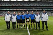 21 September 2014; Match officials, left to right, sideline official James Molloy, linesman Jerome Henry, referee Fergal Kelly, and linesman Anthony Nolan, with the umpires, Paul Kelly, Phelim Kelly, Patrick Maguire, and Tomás O'Rourke. Electric Ireland GAA Football All Ireland Minor Championship Final, Kerry v Donegal. Croke Park, Dublin. Picture credit: Ray McManus / SPORTSFILE