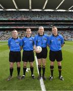 21 September 2014; Match officials, left to right, sideline official James Molloy, linesman Jerome Henry, referee Fergal Kelly, and linesman Anthony Nolan. Electric Ireland GAA Football All Ireland Minor Championship Final, Kerry v Donegal. Croke Park, Dublin. Picture credit: Ray McManus / SPORTSFILE