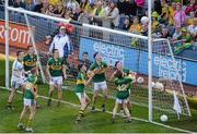 21 September 2014; Kerry players, from left to right, Shane Ryan, Barry O'Sullivan, Robert Wharton, Andrew Barry, Mark O'Connor, Liam Carey, Micheál Burns, and Matthew Flaherty, watch a late Donegal effort come back off the post near the end of the game. Electric Ireland GAA Football All Ireland Minor Championship Final, Kerry v Donegal. Croke Park, Dublin. Picture credit: Dáire Brennan / SPORTSFILE