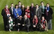 26 February 2007; The FAI's National Coordinator of the Club Promotion Officers Noel Mooney, 2nd from left front row, and the Director of the eircom League of Ireland Fran Gavin, 3rd from left front row, with the Football Association of Ireland Club Promotions Officers, back row, left to right; Patrick Collum, Longford Town, Declan White, St. Patricks Athletic, Julie-Ann Sherlock, Monaghan Utd., Daniel Walshe, Galway Utd., Sinéad Fraher, Sligo Rovers, Gerri O'Neill, Bohemians F.C., Terry Collins, Drogheda Utd., Paul Johnston, Dundalk F.C., Anthony Rooney, Bray Wanderers and Shane O'Hanlon, Limerick 37 F.C.. Front row, left to right; Adrian Desmond, Cork City, Noel Martin, Derry City and Dave Russell, Bohemians F.C. Radisson SAS St. Helen's Hotel, Stillorgan, Dublin. Picture credit: Ray McManus / SPORTSFILE