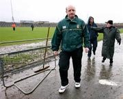 """4 March 2007; Antrim managers Terence """"Sambo"""" McNaughton, left, and Dominic McKinley, centre, in Casement park with Antrim county vice chairman Eamon McMahon after the match was called off. Allianz National Hurling League, Division 1B Round 2, Antrim v Dublin, Casement Park, Belfast, Co. Antrim. Picture credit: Oliver McVeigh / SPORTSFILE"""