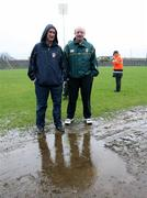 """4 March 2007; Antrim managers Dominic McKinley, left, and Terence """"Sambo"""" McNaughton, right, in Casement park  after the match was called off. Allianz National Hurling League, Division 1B Round 2, Antrim v Dublin, Casement Park, Belfast, Co. Antrim. Picture credit: Oliver McVeigh / SPORTSFILE"""