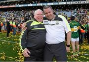 21 September 2014; Kerry team kit men Vincent Linnane, left, and Niall O'Callaghan celebrate after the game. GAA Football All Ireland Senior Championship Final, Kerry v Donegal. Croke Park, Dublin. Picture credit: Brendan Moran / SPORTSFILE