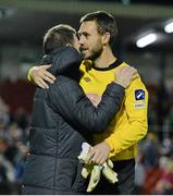 26 September 2014; Cork City goalkeeper Mark McNulty is congratulated by goalkeeping coach Phil Harrington after the game. McNulty saved a second-half penalty from Danny North, Sligo Rovers. SSE Airtricity League Premier Division, Cork City v Sligo Rovers. Turner's Cross, Cork. Picture credit: Diarmuid Greene / SPORTSFILE