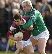 7 March 2004; Nickey Joyce of Galway in action against Diarmuid Sheehy of Limerick during the Allianz Football League Division 1B Round 4 match between Galway and Limerick at Duggan Park in Ballinasloe, Galway. Photo by Pat Murphy/Sportsfile