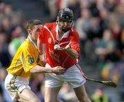 17 March 2004; Ben O'Connor, Newtownshandrum, in action against Padraig McMullan, Dunloy. AIB All-Ireland Club Hurling Final, Newtownshandrum v Dunloy, Croke Park, Dublin, Picture credit; Brendan Moran / SPORTSFILE   *EDI*