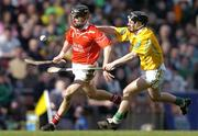 17 March 2004; Ben O'Connor, Newtownshandrum, in action against Michael McClements, Dunloy. AIB All-Ireland Club Hurling Final, Newtownshandrum v Dunloy, Croke Park, Dublin, Photo by Brendan Moran/Sportsfile