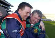 17 March 2004; Newtownshandrum coach Ger Cunningham, left, and manager Patsy Morrissey celebrate at the final whistle. AIB All-Ireland Club Football Final, Newtownshandrum v Dunloy, Croke Park, Dublin, Photo by Brendan Moran/Sportsfile