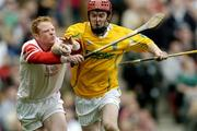 17 March 2004; Martin Curry, Dunloy, in action against Paul Morrissey, Newtownshandrum. AIB All-Ireland Club Hurling Final, Newtownshandrum v Dunloy, Croke Park, Dublin, Picture credit; Brendan Moran / SPORTSFILE   *EDI*