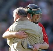 17 March 2004; Newtownshandrum sub John O'Connor celebrates with fellow club member Chris Morrisey after the game. AIB All-Ireland Club Hurling Final, Newtownshandrum v Dunloy, Croke Park, Dublin, Picture credit; Ray McManus / SPORTSFILE *EDI*