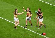 27 September 2014; Kilkenny players, left to right, Paul Murphy, JJ Delaney, Eoin Murphy, and David Herity, celebrate after the game. GAA Hurling All Ireland Senior Championship Final Replay, Kilkenny v Tipperary. Croke Park, Dublin. Picture credit: Dáire Brennan / SPORTSFILE