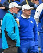 28 September 2014; Sir Alex Ferguson with European team captain Paul McGinley before the start on the Singles Matches. The 2014 Ryder Cup, Final Day. Gleneagles, Scotland. Picture credit: Matt Browne / SPORTSFILE