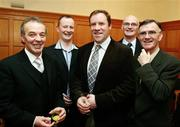 3 March 2007; Paddy Park, John Kelly, Fergal Logan, John Mackle and Brendan McGeary during the Captains Table Dinner at the close of the 2007 Sigerson Cup. Queen's University, Belfast, Co. Antrim. Picture credit: Oliver McVeigh / SPORTSFILE