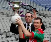 12 March 2007; Mayo footballer Keith Higgins, who was the Cadbury Hero of the Future 2006, and Kildare Footballer Dermot Earley, who is one of the Cadbury Hero of the Future judges, at the launch of the 2007 Cadbury U21 Football Championship. The Cadbury Heroes of the Future is an initiative which began in 2006 to recognise and highlight the skill and commitment of U21 Footballers. Croke Park, Dublin. Picture credit: Ray McManus / SPORTSFILE