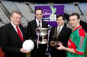 12 March 2007; Dermot Power, GAA Commercial and Marketing, left, Kildare Footballer Dermot Earley, who is one of the Cadbury Hero of the Future judges, Cathal O'Connor, Marketing Manager Cadbury Ireland, 2nd from right, and Mayo footballer Keith Higgins, who was the Cadbury Hero of the Future 2006, at the launch of the 2007 Cadbury U21 Football Championship. The Cadbury Heroes of the Future is an initiative which began in 2006 to recognise and highlight the skill and commitment of U21 Footballers. Croke Park, Dublin. Picture credit: Ray McManus / SPORTSFILE