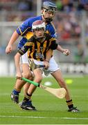 27 September 2014; Cathal Murray, Burrin Rangers Hurling club, Carlow, representing Kilkenny, in action against Eoghan O'Brien, Kilvemnon NS, Mullinahone, Tipperary, representing Tipperary, during the INTO/RESPECT Exhibition GoGames. Croke Park, Dublin. Picture credit: Piaras O Midheach / SPORTSFILE