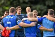 29 September 2014; Leinster's Jimmy Gopperth, left, Mike McCarthy, centre, and Steve Crosbie during squad training ahead of their Guinness Pro 12, Round 5, match against Munster on Saturday. Leinster Rugby Squad Training, Rosemount, UCD, Belfield, Dublin. Picture credit: Ramsey Cardy / SPORTSFILE