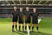 27 September 2014; Referee Brian Gavin, second from right, with from officials from left, Alan Kelly, James Owens and James McGrath. GAA Hurling All Ireland Senior Championship Final Replay, Kilkenny v Tipperary. Croke Park, Dublin. Picture credit: David Maher / SPORTSFILE