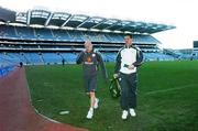 20 March 2007; Republic of Ireland's Lee Carsley, left and Steve Finnan at the end of squad training. Croke Park, Dublin. Picture credit: David Maher / SPORTSFILE