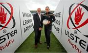 1 October 2014; Anto Finnegan, with Antrim player Paddy Cunningham. In attendance at the launch of Game for Anto: Tackling MND Together, a game between an All-Star Ulster Select and Dublin to be played at the Kingspan Stadium, Ravenhill Park, Belfast. Picture credit: John Dickson / SPORTSFILE