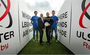 1 October 2014; Aaron Findon, Armagh, Anto Finnegan, Paddy Cunningham, Antrim and Rory Baggan, Monaghan. In attendance at the launch of Game for Anto: Tackling MND Together, a game between an All-Star Ulster Select and Dublin to be played at the Kingspan Stadium, Ravenhill Park, Belfast. Picture credit: John Dickson / SPORTSFILE