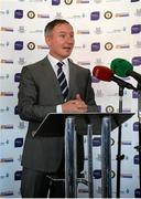 1 October 2014; Dublin manager Jim Gavin, speaks at the launch of Game for Anto: Tackling MND Together, a game between an All-Star Ulster Select and Dublin to be played at the Kingspan Stadium, Ravenhill Park, Belfast. Picture credit: John Dickson / SPORTSFILE