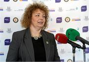 1 October 2014; NI Sports Minister, Caral Ni Chuilin, speaks at the launch of Game for Anto: Tackling MND Together, a game between an All-Star Ulster Select and Dublin to be played at the Kingspan Stadium, Ravenhill Park, Belfast. Picture credit: John Dickson / SPORTSFILE