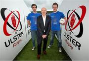 1 October 2014; Aaron Findon, Armagh, Anto Finnegan and Rory Baggan, Monaghan. In attendance at the launch of Game for Anto: Tackling MND Together, a game between an All-Star Ulster Select and Dublin to be played at the Kingspan Stadium, Ravenhill Park, Belfast. Picture credit: John Dickson / SPORTSFILE