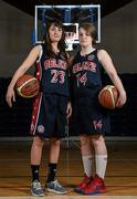 1 October 2014; Jennifer Morabito, left, and Alison Keech, Oblate Dynamoes, during the launch of the Basketball Ireland 2014/2015 Season. As winter approaches, Ireland's most popular indoor sport officially launched its new season today. Basketball clubs from around the country gathered at the National Basketball Arena in Tallaght for the launch of the national league season for 2014/2015. All the action gets underway this Saturday as 32 teams across 4 divisions fight it out to be the best basketballers in the country. Women's Premier League and Cup Champions Team Montenotte get their account underway against Singleton Supervalu Brunell in a Cork derby while defending Men's Champions Killester are away to DCU Saints. The draw for the National Cups also took place today. National Basketball Arena, Tallaght, Dublin. Picture credit: Brendan Moran / SPORTSFILE