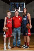 1 October 2014; Singleton Supervalu Brunell coach Kieran O'Leary with players Megan O'Leary, left, and Katie Hannemall during the launch of the Basketball Ireland 2014/2015 Season. As winter approaches, Ireland's most popular indoor sport officially launched its new season today. Basketball clubs from around the country gathered at the National Basketball Arena in Tallaght for the launch of the national league season for 2014/2015. All the action gets underway this Saturday as 32 teams across 4 divisions fight it out to be the best basketballers in the country. Women's Premier League and Cup Champions Team Montenotte get their account underway against Singleton Supervalu Brunell in a Cork derby while defending Men's Champions Killester are away to DCU Saints. The draw for the National Cups also took place today. National Basketball Arena, Tallaght, Dublin. Picture credit: Brendan Moran / SPORTSFILE