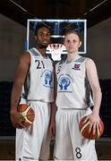 1 October 2014; Neptune players Nigel Byam, left, and Ian McLoughlin during the launch of the Basketball Ireland 2014/2015 Season. As winter approaches, Ireland's most popular indoor sport officially launched its new season today. Basketball clubs from around the country gathered at the National Basketball Arena in Tallaght for the launch of the national league season for 2014/2015. All the action gets underway this Saturday as 32 teams across 4 divisions fight it out to be the best basketballers in the country. Women's Premier League and Cup Champions Team Montenotte get their account underway against Singleton Supervalu Brunell in a Cork derby while defending Men's Champions Killester are away to DCU Saints. The draw for the National Cups also took place today. National Basketball Arena, Tallaght, Dublin. Picture credit: Brendan Moran / SPORTSFILE