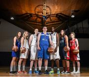 1 October 2014; Players representing Cork clubs, from left, Olivia Dupuy and Eve O'Mahony, Team Montenotte Hotel Cork, Ian McLoughlin, Neptune, Ciaran O'Sullivan, UCC Demons, Nigel Byam, Neptune, Katie Hannemall and Megan O'Leary, Singleton Supervalu Brunell, during the launch of the Basketball Ireland 2014/2015 Season. As winter approaches, Ireland's most popular indoor sport officially launched its new season today. Basketball clubs from around the country gathered at the National Basketball Arena in Tallaght for the launch of the national league season for 2014/2015. All the action gets underway this Saturday as 32 teams across 4 divisions fight it out to be the best basketballers in the country. Women's Premier League and Cup Champions Team Montenotte get their account underway against Singleton Supervalu Brunell in a Cork derby while defending Men's Champions Killester are away to DCU Saints. The draw for the National Cups also took place today. National Basketball Arena, Tallaght, Dublin. Picture credit: Brendan Moran / SPORTSFILE