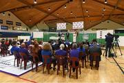 1 October 2014; A general view of the launch and cup draw of the Basketball Ireland 2014/2015 Season. As winter approaches, Ireland's most popular indoor sport officially launched its new season today. Basketball clubs from around the country gathered at the National Basketball Arena in Tallaght for the launch of the national league season for 2014/2015. All the action gets underway this Saturday as 32 teams across 4 divisions fight it out to be the best basketballers in the country. Women's Premier League and Cup Champions Team Montenotte get their account underway against Singleton Supervalu Brunell in a Cork derby while defending Men's Champions Killester are away to DCU Saints. The draw for the National Cups also took place today. National Basketball Arena, Tallaght, Dublin. Picture credit: Brendan Moran / SPORTSFILE