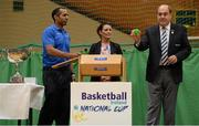1 October 2014; Making the draw for the national cups at the launch of the Basketball Ireland 2014/2015 Season, from left, Matt Hall, Senior Technical Officer, Basketball Ireland, Michelle Wray, Sales Manager Red Cow Moran Hotels, and Gerry Kelly, President, Basketball Ireland. As winter approaches, Ireland's most popular indoor sport officially launched its new season today. Basketball clubs from around the country gathered at the National Basketball Arena in Tallaght for the launch of the national league season for 2014/2015. All the action gets underway this Saturday as 32 teams across 4 divisions fight it out to be the best basketballers in the country. Women's Premier League and Cup Champions Team Montenotte get their account underway against Singleton Supervalu Brunell in a Cork derby while defending Men's Champions Killester are away to DCU Saints. The draw for the National Cups also took place today. National Basketball Arena, Tallaght, Dublin. Picture credit: Brendan Moran / SPORTSFILE