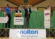 1 October 2014; Making the draw for the national cups at the launch of the Basketball Ireland 2014/2015 Season, from left, Matt Hall, Senior Technical Officer, Basketball Ireland, Michelle Wray, Sales Manager Red Cow Moran Hotels, Gerry Kelly, President, Basketball Ireland, and Bernard O'Byrne, Chief Executive, Basketball Ireland. As winter approaches, Ireland's most popular indoor sport officially launched its new season today. Basketball clubs from around the country gathered at the National Basketball Arena in Tallaght for the launch of the national league season for 2014/2015. All the action gets underway this Saturday as 32 teams across 4 divisions fight it out to be the best basketballers in the country. Women's Premier League and Cup Champions Team Montenotte get their account underway against Singleton Supervalu Brunell in a Cork derby while defending Men's Champions Killester are away to DCU Saints. The draw for the National Cups also took place today. National Basketball Arena, Tallaght, Dublin. Picture credit: Brendan Moran / SPORTSFILE