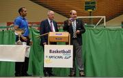 1 October 2014; Making the draw for the national cups at the launch of the Basketball Ireland 2014/2015 Season, from left, Matt Hall, Senior Technical Officer, Basketball Ireland, Niall O'Driscoll, O'Driscoll O'Neil Insurance, and Gerry Kelly, President, Basketball Ireland. As winter approaches, Ireland's most popular indoor sport officially launched its new season today. Basketball clubs from around the country gathered at the National Basketball Arena in Tallaght for the launch of the national league season for 2014/2015. All the action gets underway this Saturday as 32 teams across 4 divisions fight it out to be the best basketballers in the country. Women's Premier League and Cup Champions Team Montenotte get their account underway against Singleton Supervalu Brunell in a Cork derby while defending Men's Champions Killester are away to DCU Saints. The draw for the National Cups also took place today. National Basketball Arena, Tallaght, Dublin. Picture credit: Brendan Moran / SPORTSFILE
