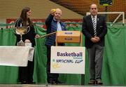 1 October 2014; Making the draw for the national cups at the launch of the Basketball Ireland 2014/2015 Season, from left, Louise O'Loughlin, Senior Competitions Officer, Basketball Ireland, John Fallon, Macron kits, and Gerry Kelly, President, Basketball Ireland. As winter approaches, Ireland's most popular indoor sport officially launched its new season today. Basketball clubs from around the country gathered at the National Basketball Arena in Tallaght for the launch of the national league season for 2014/2015. All the action gets underway this Saturday as 32 teams across 4 divisions fight it out to be the best basketballers in the country. Women's Premier League and Cup Champions Team Montenotte get their account underway against Singleton Supervalu Brunell in a Cork derby while defending Men's Champions Killester are away to DCU Saints. The draw for the National Cups also took place today. National Basketball Arena, Tallaght, Dublin. Picture credit: Brendan Moran / SPORTSFILE