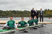 3 October 2014; Leitrim Tourism and Leitrim County Council officially launched the opening of an International standard rowing facility in Lough Rynn, Co. Leitrim with a visit from Michael Ring TD, Minister of State at the Department of Transport, Tourism and Sport with Special Responsibility for Tourism and Sport. The facility and world-class development boasts a 2,000 meter, eight lane facility which will be capable of hosting national and international rowing and canoeing events well as acting as a training base for international teams in advance of major competitions. It will be ready for use from Friday, 3rd October. The facility is within easy reach of Dublin, Belfast and Galway and has already attracted the attention of many of the clubs in Ireland, and in particular Northern Ireland, where there is no facility of this nature. Pictured at the launch are Michael Ring TD, Minister of State at the Department of Transport, Tourism and Sport with Frank Curran, left, CEO Leitrim County Council and Councillor Paddy O'Rourke, right, Cathaoirleach of Leitrim County Council with the Ireland U.16 4 Man Kayak development squad members, from left, Brian O'Neill, Ryan O'Connor, Mark Slattery and Craig Cummins. Lough Rynn Castle, Mohill, Co. Leitrim. Picture credit: David Maher / SPORTSFILE